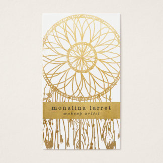 Tribal Faux Gold Foil Bohemian Dream Catcher Business Card