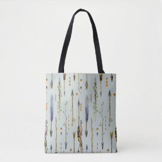 Tribal Feathers & Arrows Pattern Tote Bag