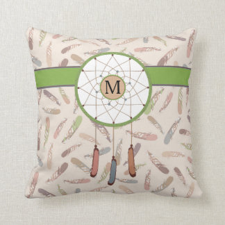 Tribal Feathers Dreamcatcher Boho Custom Monogram Cushion