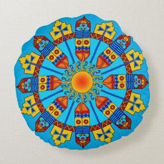 Tribal Feathers & Sun Mandala Throw Pillow