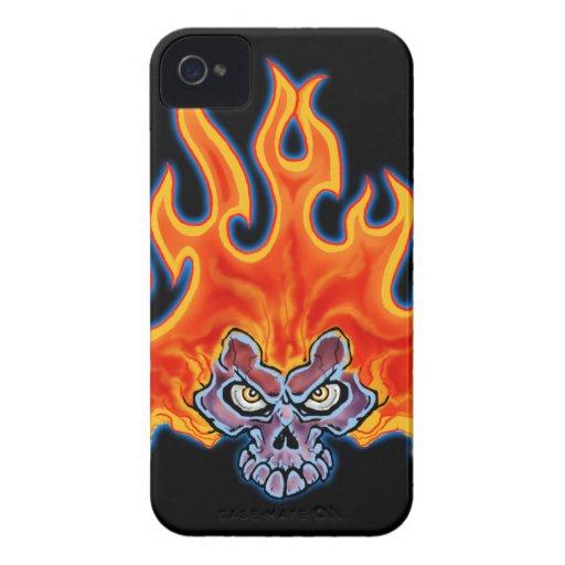 Tribal Fire Skull Design Blackberry Case