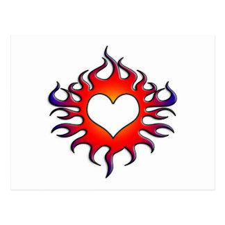 tribal flames heart postcards
