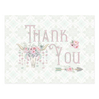 Tribal Floral Bull Horn Arrows Pink Mint Thank You Postcard