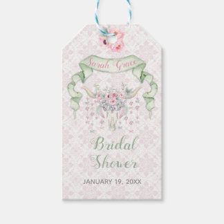 Tribal Floral Bull Horns Arrows Pink Mint Feminine Gift Tags