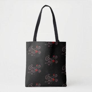 tribal flower tote bag