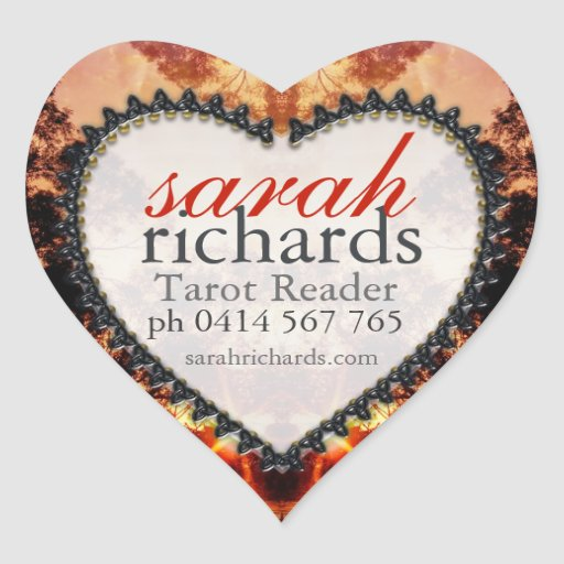 Tribal Forest Sunset Heart Stickers
