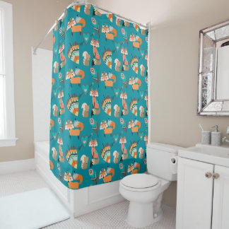 Tribal Fox Teal Pattern Shower Curtain