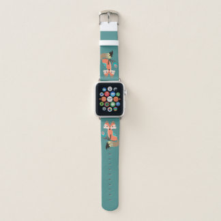 Tribal Fox with Feather on Teal Apple Watch Band