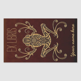 Tribal Frog Ex Libris Bookplate Rectangular Sticker