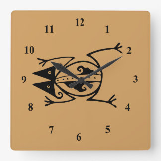 Tribal Frog Square Wall Clock