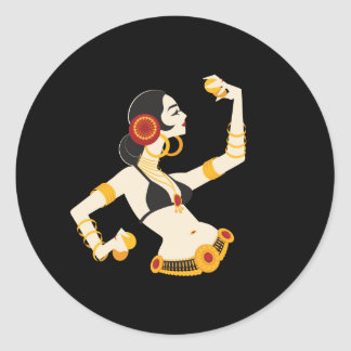 tribal fusion belly dancer with cymbals classic round sticker