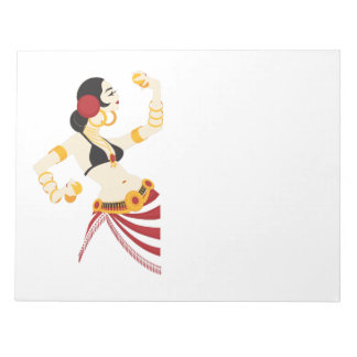 tribal fusion belly dancer with cymbals notepad