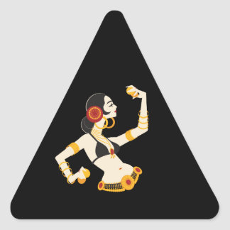 tribal fusion belly dancer with cymbals triangle sticker