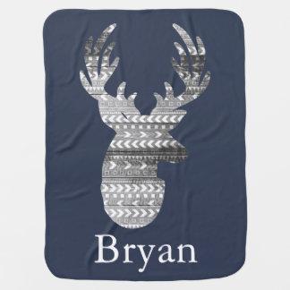 Tribal Geometric & Gray Barn Wood Deer Baby's Name Baby Blanket