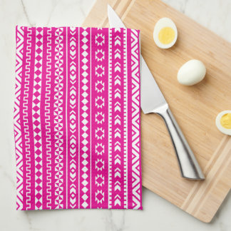 Tribal Geometric in Girly Hot Pink Tea Towel