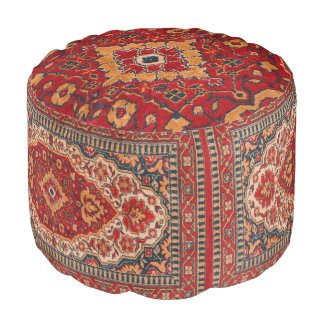 Tribal Geometric Rug Design red & Beige Pouf