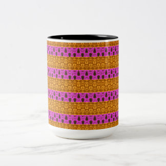 Tribal-Glamour-Pink-Gold-Multi-Style Two-Tone Coffee Mug