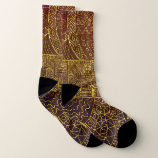 Tribal  Gold Pattern on Brown Paint Socks