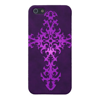 Tribal Gothic Cross - purple iPhone 5 Covers