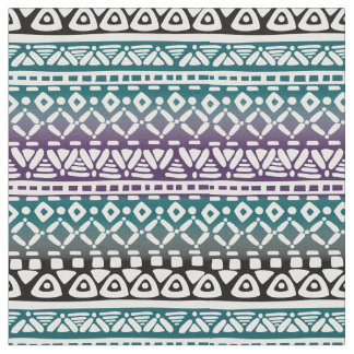 Tribal Gradient Print Fabric Teal Violet