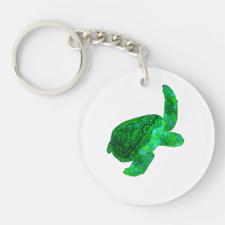 Tribal Green Sea Turtle Double-Sided Round Acrylic Key Ring