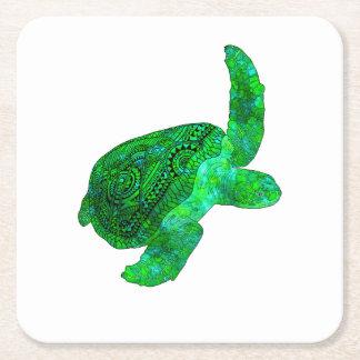 Tribal Green Sea Turtle Square Paper Coaster