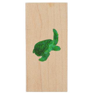 Tribal Green Sea Turtle Wood USB 2.0 Flash Drive
