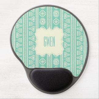 Tribal green white Ethnic vintage Gel Mousepad