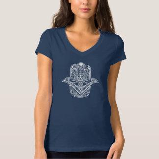 tribal hamsa design women's V neck T-shirt