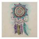 tribal hand paint dreamcatcher mandala design poster