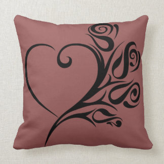 tribal heart and roses throw pillow