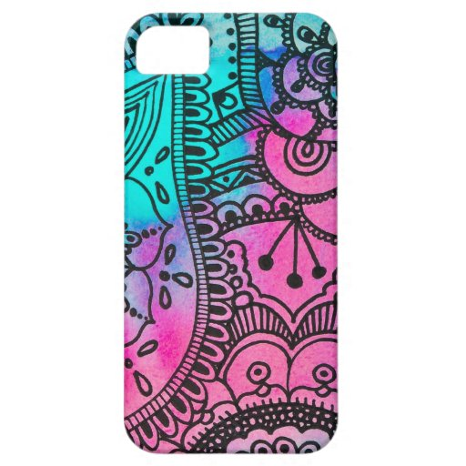 Tribal Hippie Pattern - Aqua and Pink iPhone 5 iPhone 5 Covers