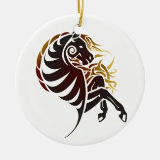 Tribal Horse Ceramic Ornament