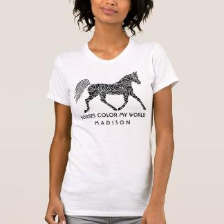 Tribal Horse Trotting Optional Name Horse Lover T-Shirt