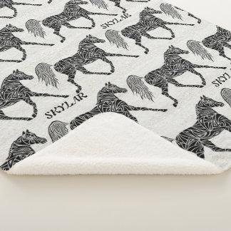 Tribal Horse Trotting Pony Pattern Personalised Sherpa Blanket