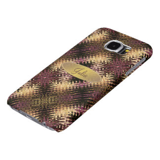 Tribal Ikat Abstract Pattern Eggplant Olive Gold Samsung Galaxy S6 Cases