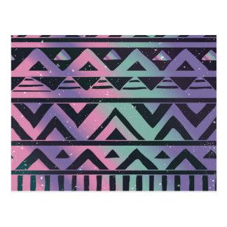 Tribal,ikat,teal,purple,chevron,black,zig zag,fun postcard