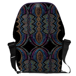 Tribal iridescent geometric abstract messenger bag