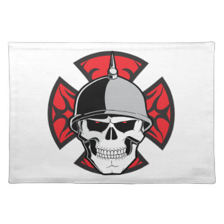 Tribal Iron Cross Skull Placemat Cloth Placemat