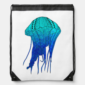 Tribal Jellyfish Drawstring Bag