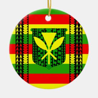 Tribal Kanaka Maoli Flag Round Ceramic Decoration