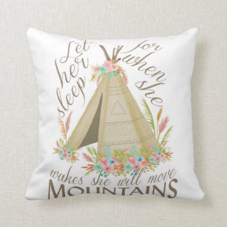 "Tribal ""Let Her Sleep"" Pillow with Teepee"