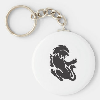 Tribal Lion Tattoo Design Basic Round Button Key Ring