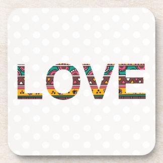 Tribal Love Word Art Coaster
