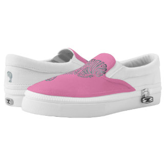 Tribal Manatee on Pink Slip-On Shoes