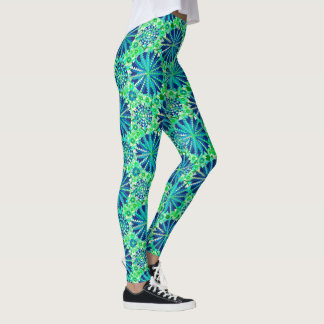 Tribal Mandala Print, Cobalt Blue and Green Leggings