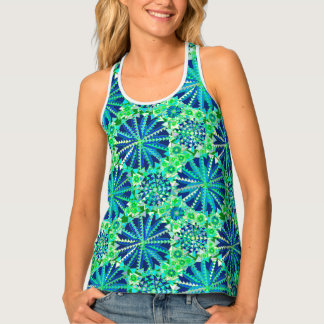 Tribal Mandala Print, Cobalt Blue and Green Singlet
