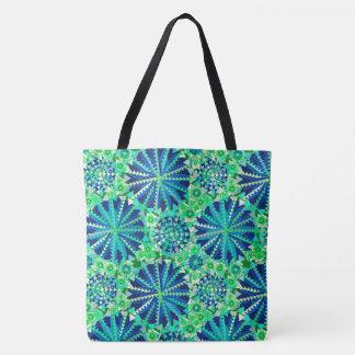 Tribal Mandala Print, Cobalt Blue and Green Tote Bag
