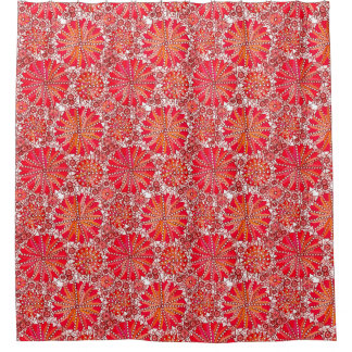 Tribal Mandala Print, Coral Red and White Shower Curtain