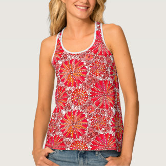 Tribal Mandala Print, Coral Red and White Singlet